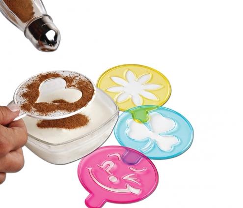 Egyszerű cappuccino díszítő sablon (4db)