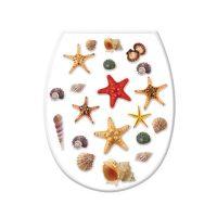 WC ülőke, tengeri csillag és kagyló dekor