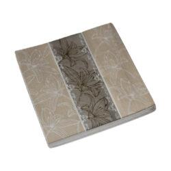 Szalvéta 16,5x16,5cm bézs-barna, liliom mintás (20db/csomag)