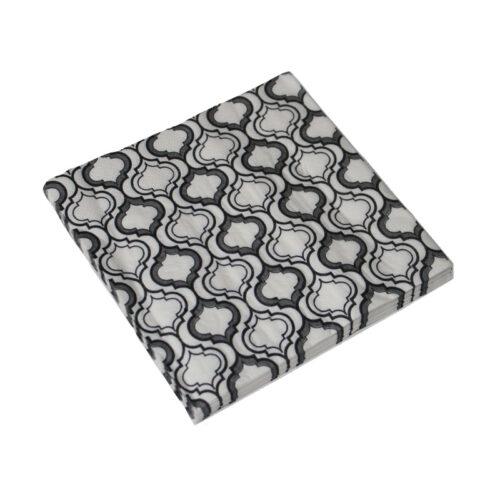 Szalvéta 16,5x16,5cm fehér-szürke, vintage mintás (20db/csomag)