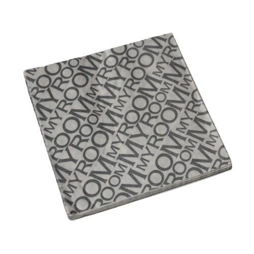 Szalvéta 16,5x16,5cm fehér-szürke, MyRoom feliratos (20db-csomag)
