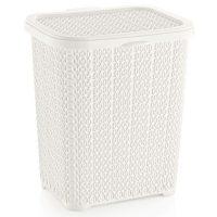 Tároló doboz D tetővel, 22x16,8x26cm 6,0L, Kötött mintás, fehér