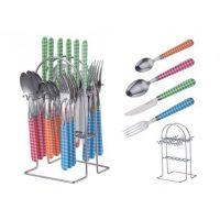 Evőeszköz készlet, 24 részes, színes, PH-22119