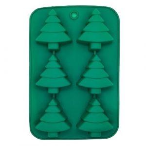 Szilikon forma, karácsonyi (6 részes), 25x17x2,5cm, fenyőfa minta