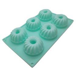 Szilikon sütőforma 6r. 29x4x17cm, csavart, mini kuglóf minta