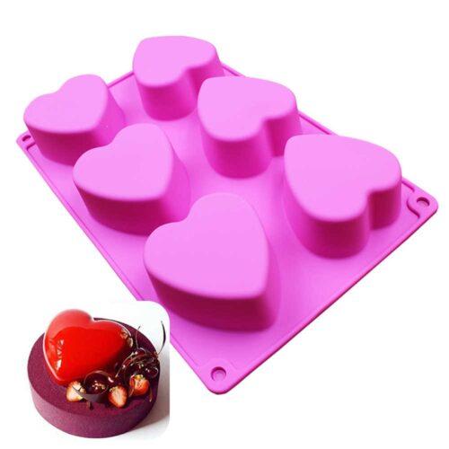 Szilikon sütőforma (6 részes) 18x3x27cm, szív minta