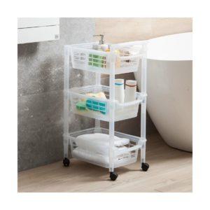 Fürdőszobai tároló (3 rekeszes) 42,5×29,5x72cm gurulós, Fehér, Rotho