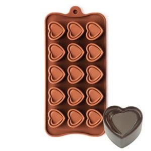Szilikon forma, praliné (15 részes) 20,4x10,5x1,5cm, Love szívecskék