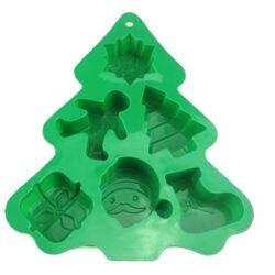 Szilikon forma, karácsonyi (6 részes), 23×18,5×2,5cm, fenyőfa alakú
