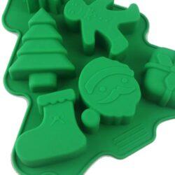 Szilikon forma, karácsonyi 6r. 23x18,5x2,5cm, fenyőfa alakú