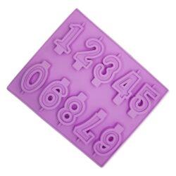 Szilikon forma, gyertya forma (10 részes) 25,5x21,5x1cm, 0-9 számok