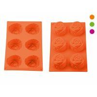 Szilikon muffin forma, 6r. 29,1x17x3,2cm, PH-12840, rózsa