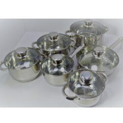 Edénykészlet HC 12r. mértékjeles, üveg fedővel Happy Cooking RM RS-1277