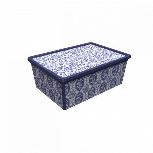 Porcelán mintázatú műanyag tároló doboz tetővel M-es méret.
