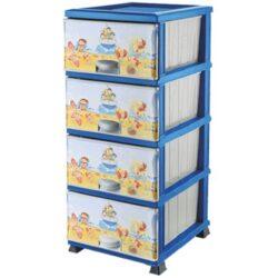 Dekoros komód műanyag 4 fiókos 37,5x45,5x90cm 298, Pancsoló gyerekek