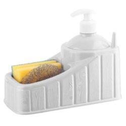 A praktikus szivacsos folyékony szappanadagoló első osztályú műanyagból készül. A termék 1 edényszivacsot és 1 darab mosogatószálat tartalmaz. A gyűrűket a folyékony szappanadagoló oldalán lévő párkányra akaszthatja, hogy megakadályozza a sérüléseket és a szennyeződéseket mosogatás.