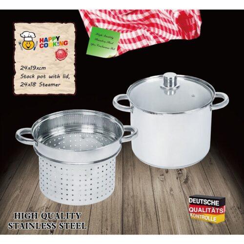 Lábas HC RM 24cm tésztaszűrő betéttel Happy Cooking RS-1280