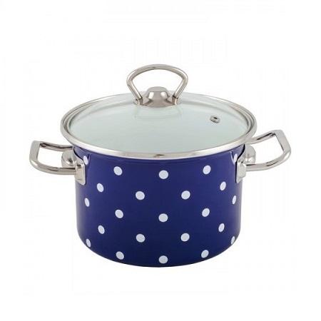 Zománcozott fazék fedővel Kék pöttyös Happy Cooking 3,0L RS-1241
