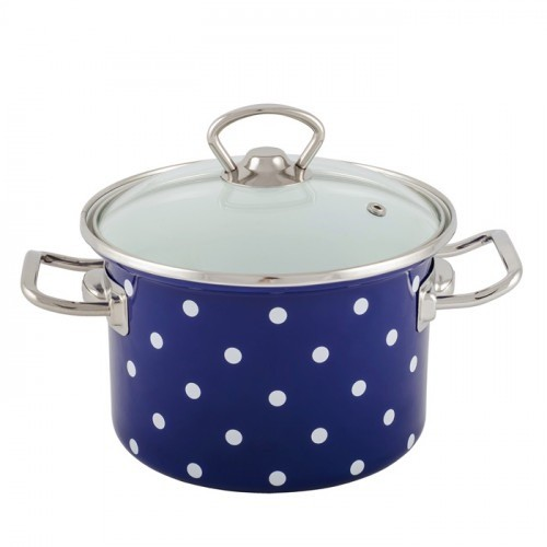 Zománcozott fazék fedővel Kék pöttyös Happy Cooking 5,5L RS-1240
