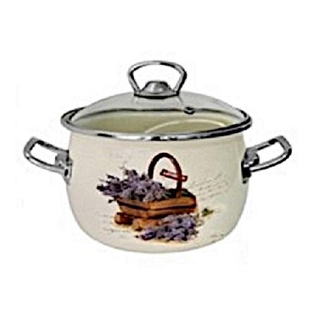 Zománcozott lábas fedővel Levendula Happy Cooking 3,5L RS-1324