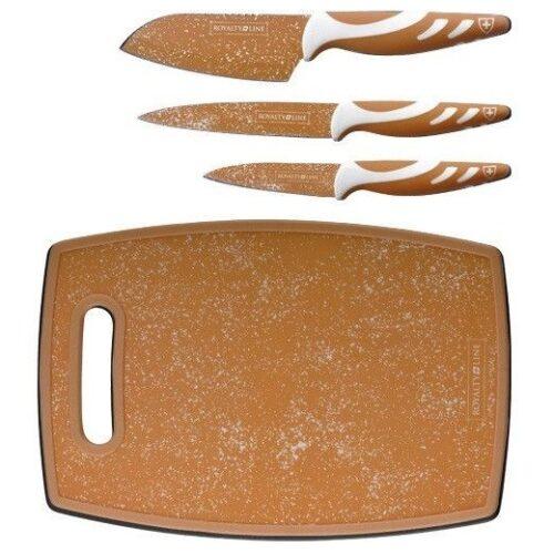 Royalty Line 3+1 részes arany színű konyhai kés készlet + vágódeszka.