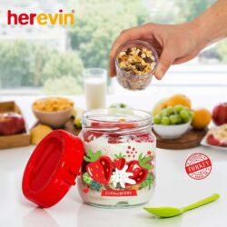 Joghurt és müzli tartó kanállal dekoros 131615-000